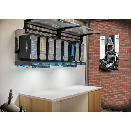 BluCave wall mounted rail for four suitcases