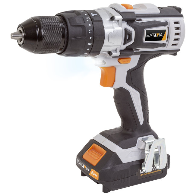 Batavia Cordless drill - With impact drill function - 18V | incl. 2x 2.0Ah Battery and Charger | MaxxPack Battery Platform