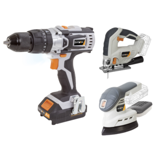 Batavia Cordless Drill, Jigsaw, and Multi-Sander - 18V   incl. 2x Battery and Charger   MaxxPack Battery Platform