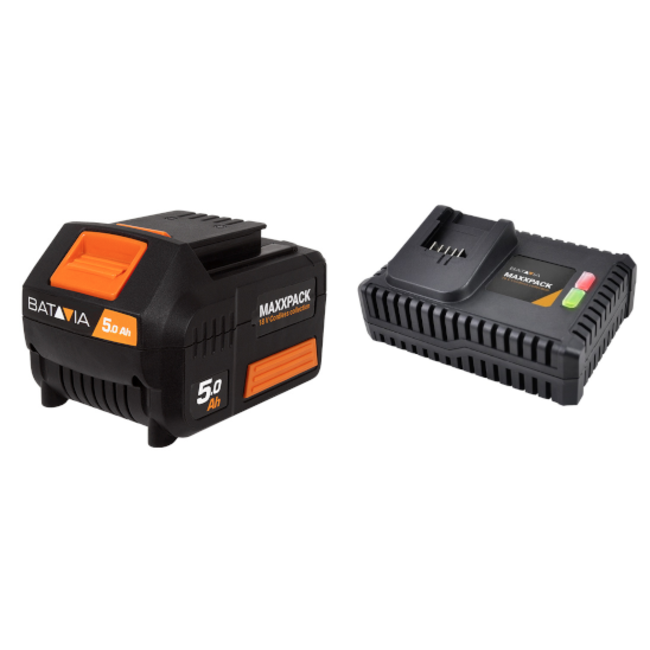 Batavia Batterie 5.0Ah et Chargeur Rapide 4.0A - 18V | Plateforme de batterie MaxxPack