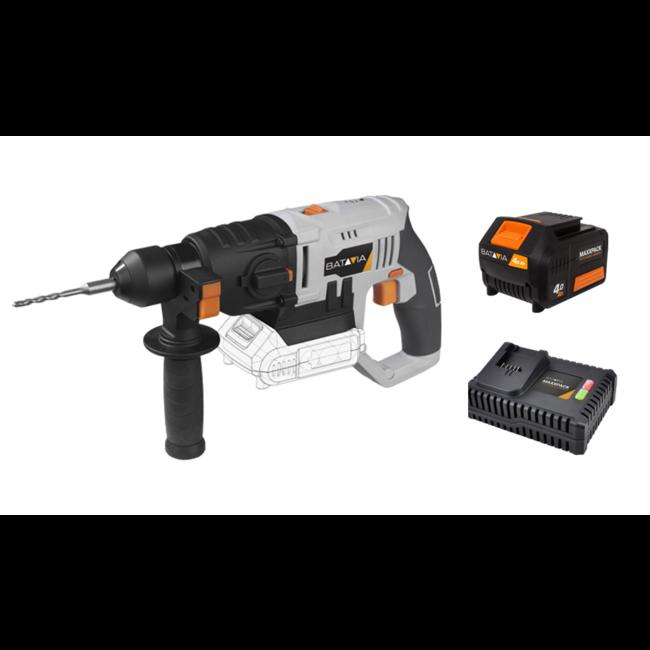 Batavia Marteau perforateur sans fil - SDS Plus - 18V | incl. Batterie 4.0Ah et chargeur rapide | Plateforme de batterie MaxxPack