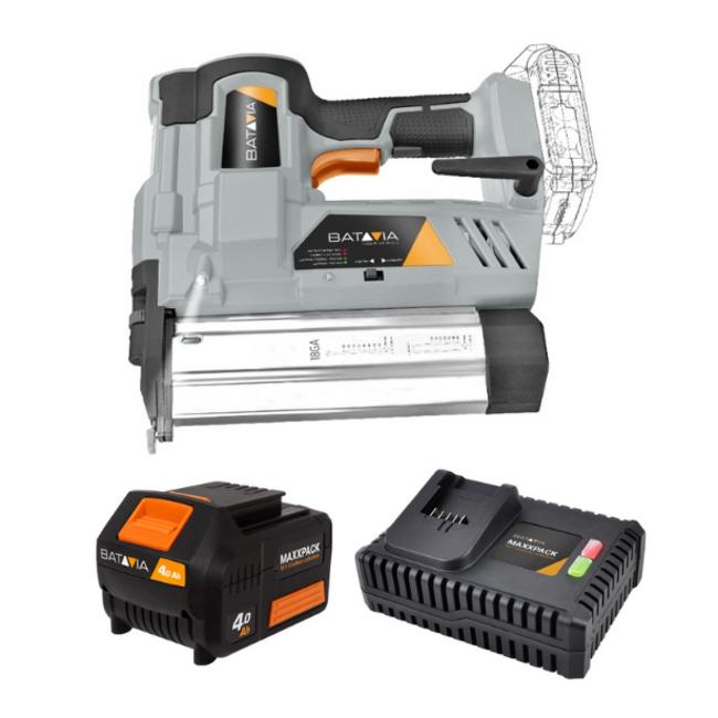 Batavia Agrafeuse à batterie - Agrafeuse et cloueuse - 18V   incl. Batterie 4.0Ah et chargeur rapide   Plateforme de batterie Maxxpack