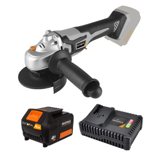 Batavia Battery brushless angle grinder - Carbon brushless - 18V   incl. 4.0Ah Battery and Fast Charger   Maxxpack Battery Platform