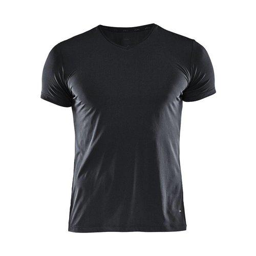Craft Essential Shortsleeve Shirt  V-Neck heren zwart