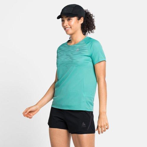 Odlo Odlo Essential Print, hardloop shirt, dames, groen