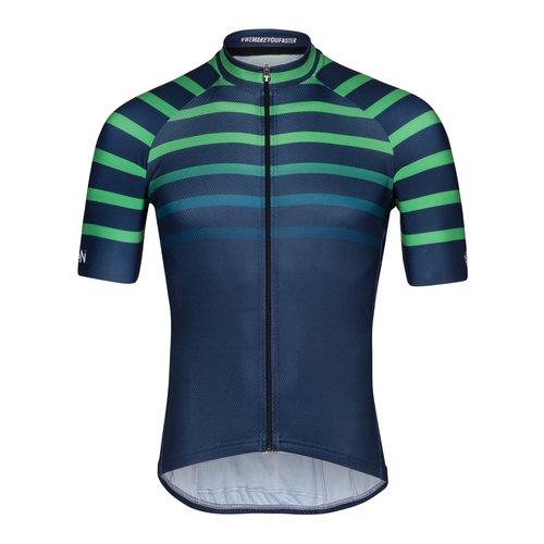 Bioracer Xien, Bioracer Short Sleeve Jersey Bodyfit 2.0, heren, navy-green