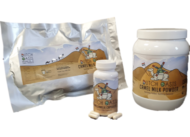 Camel milk powder and capsules