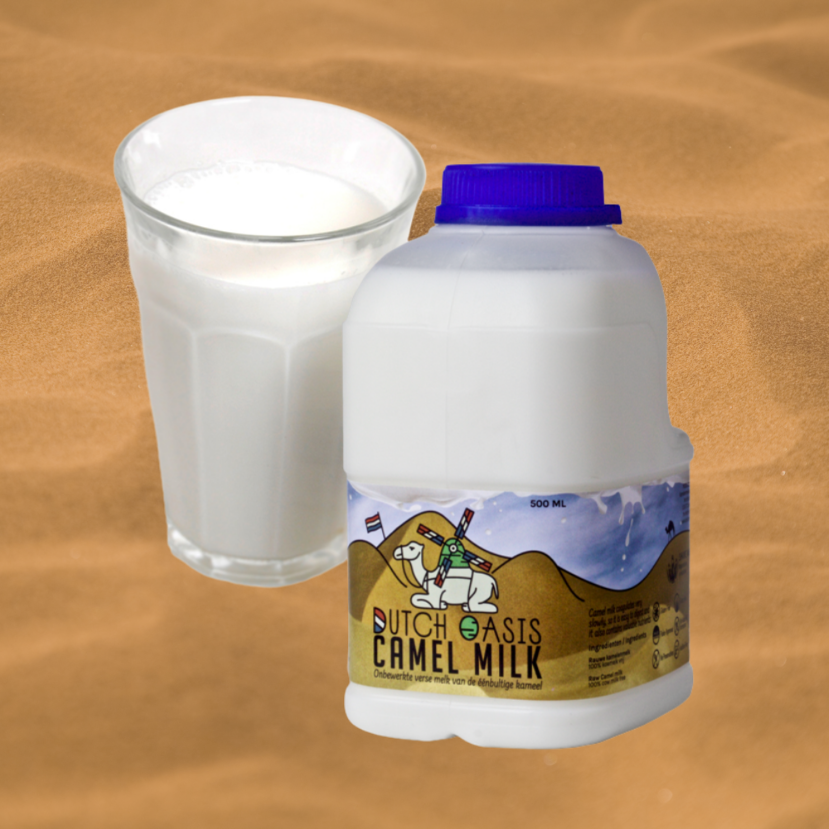 Dutch Oasis 14 flessen (á 500ml) Bevroren, onbewerkte, rauwe kamelenmelk