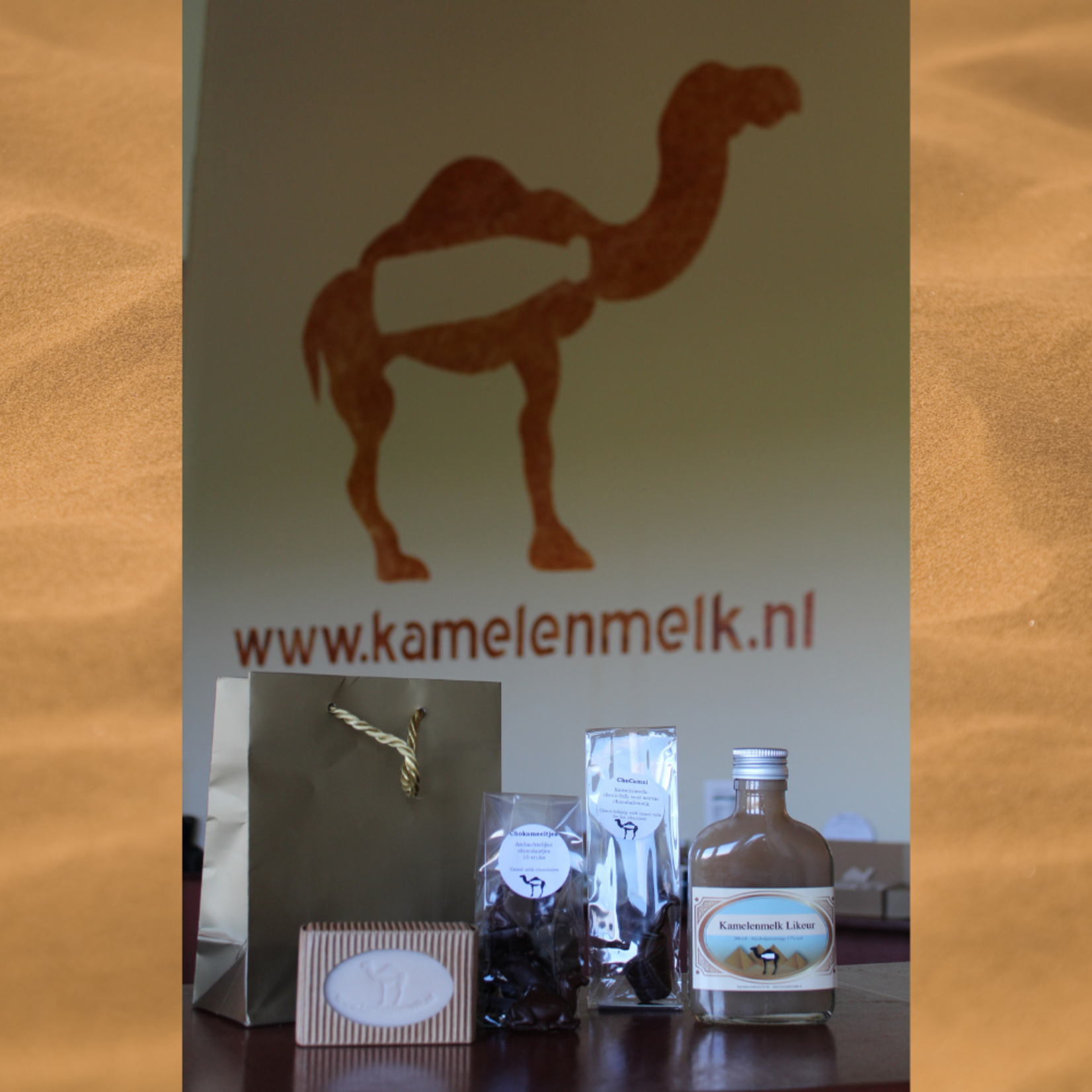 Camel gift set 2 with camel soap, chocalate camels, a choco lollipop  and a bottle of camel milk liqueur