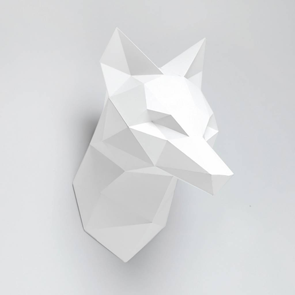 Paper fox trophy head