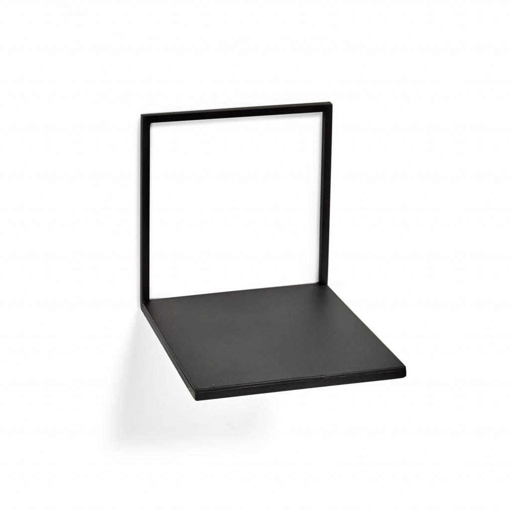Design wandplank van zwart metaal