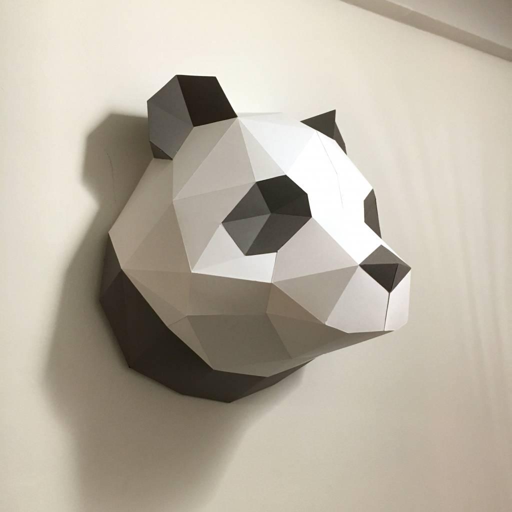 Papieren panda voor aan de muur