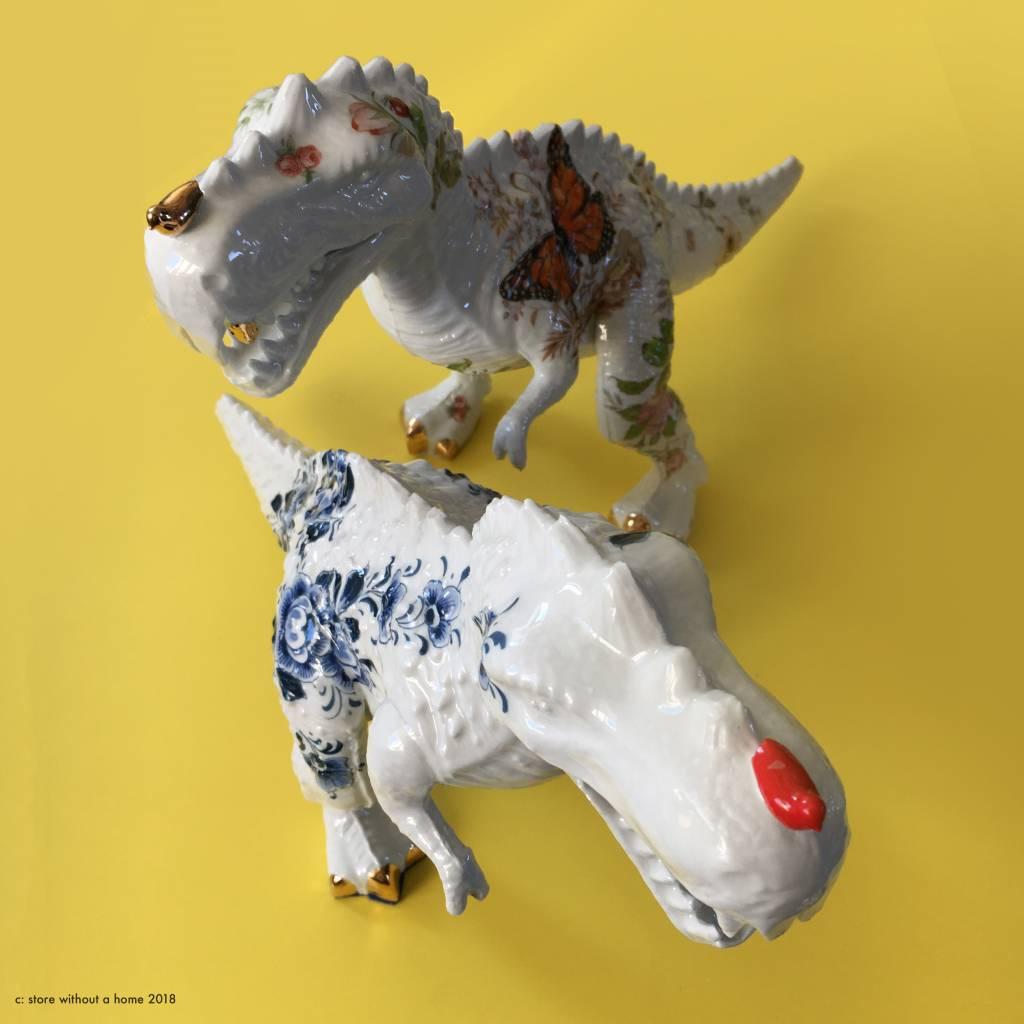 T-rex figurine / Delft Blue