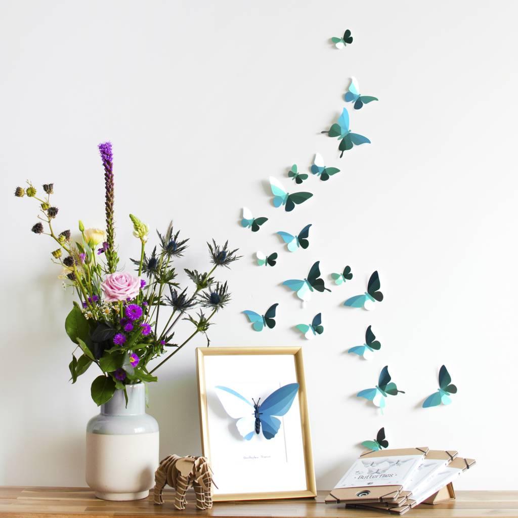 28 Paper Butterflies / Green