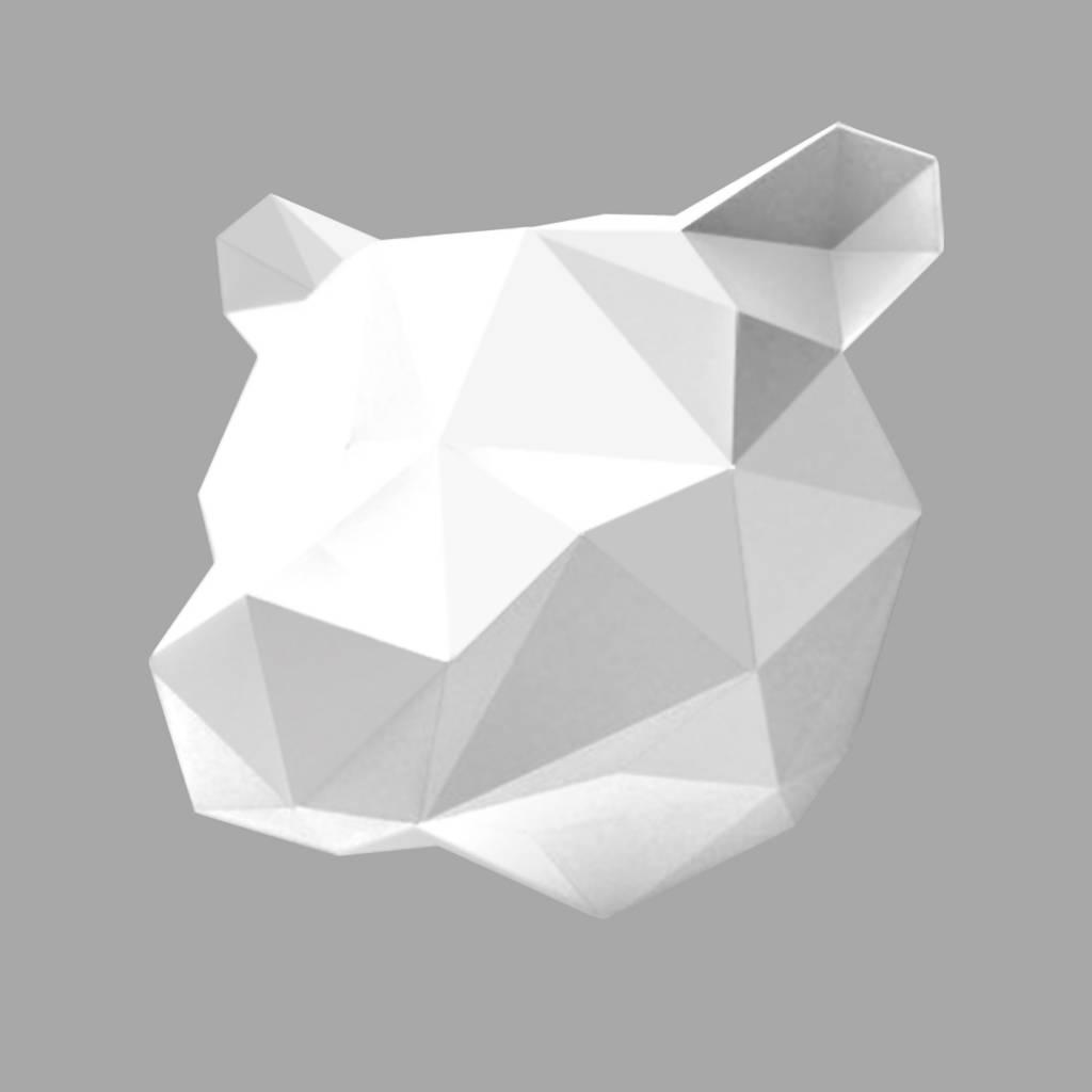 Paper Bear head trophy