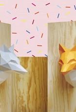 Papieren vos dierenkop