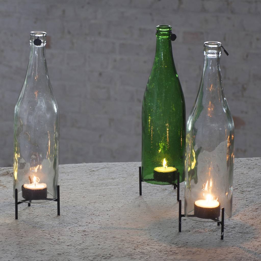 Modern green glass bottle tealight holder