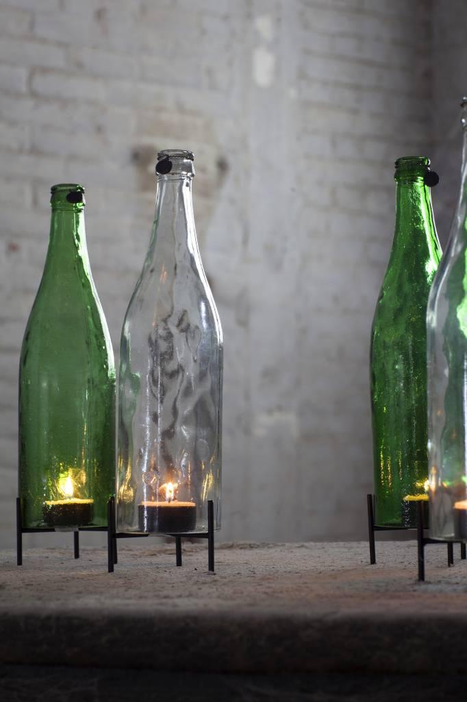 Design waxinelichthouder fles van groen glas