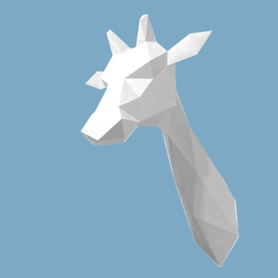 White paper giraffe trophy