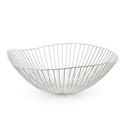 Design fruitschaal van wit metaal
