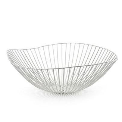 Modern design metal fruit bowl in white