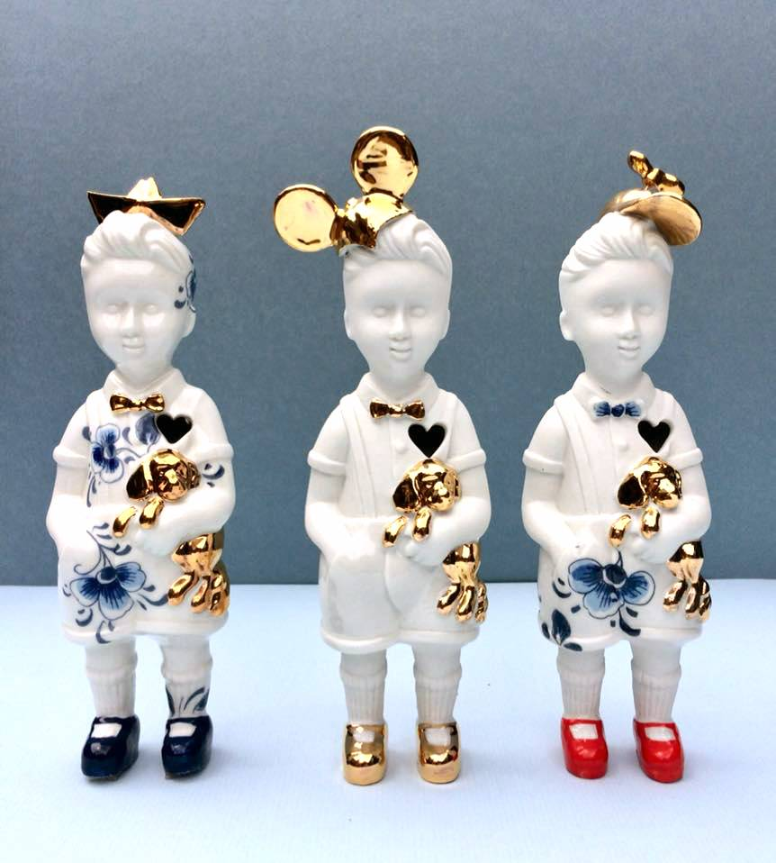 "Ceramic doll ""Little Boy"" with cap"