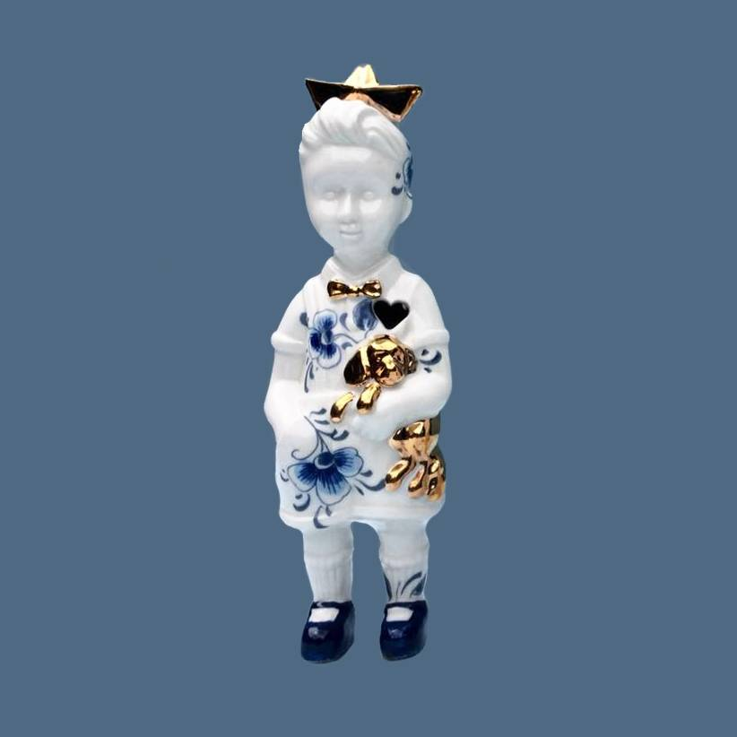 "Ceramic doll ""Little Boy"" with hat"