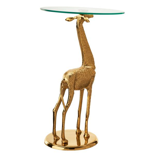 Brass giraffe side table