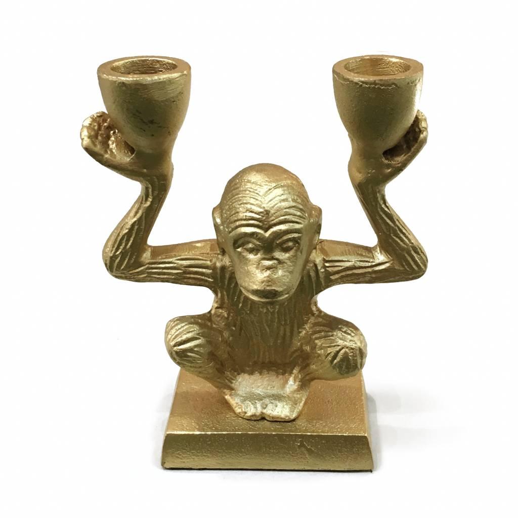 Gold metal monkey candlestick