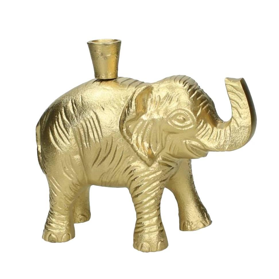 Gouden kandelaar in de vorm van een olifant