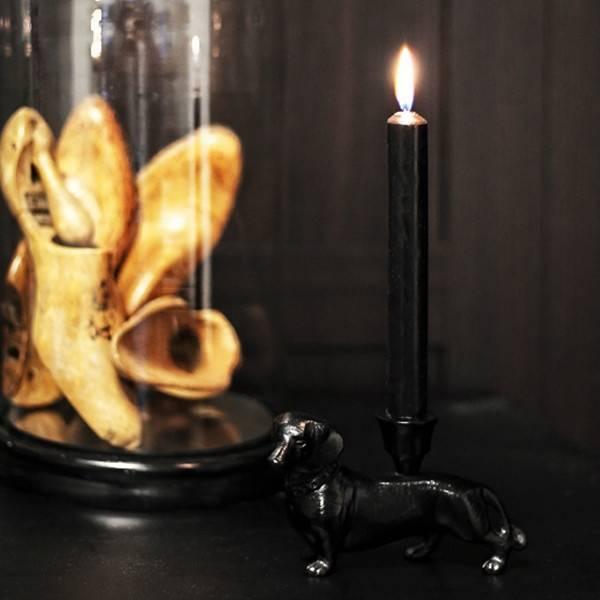 Metal dachshund candlestick