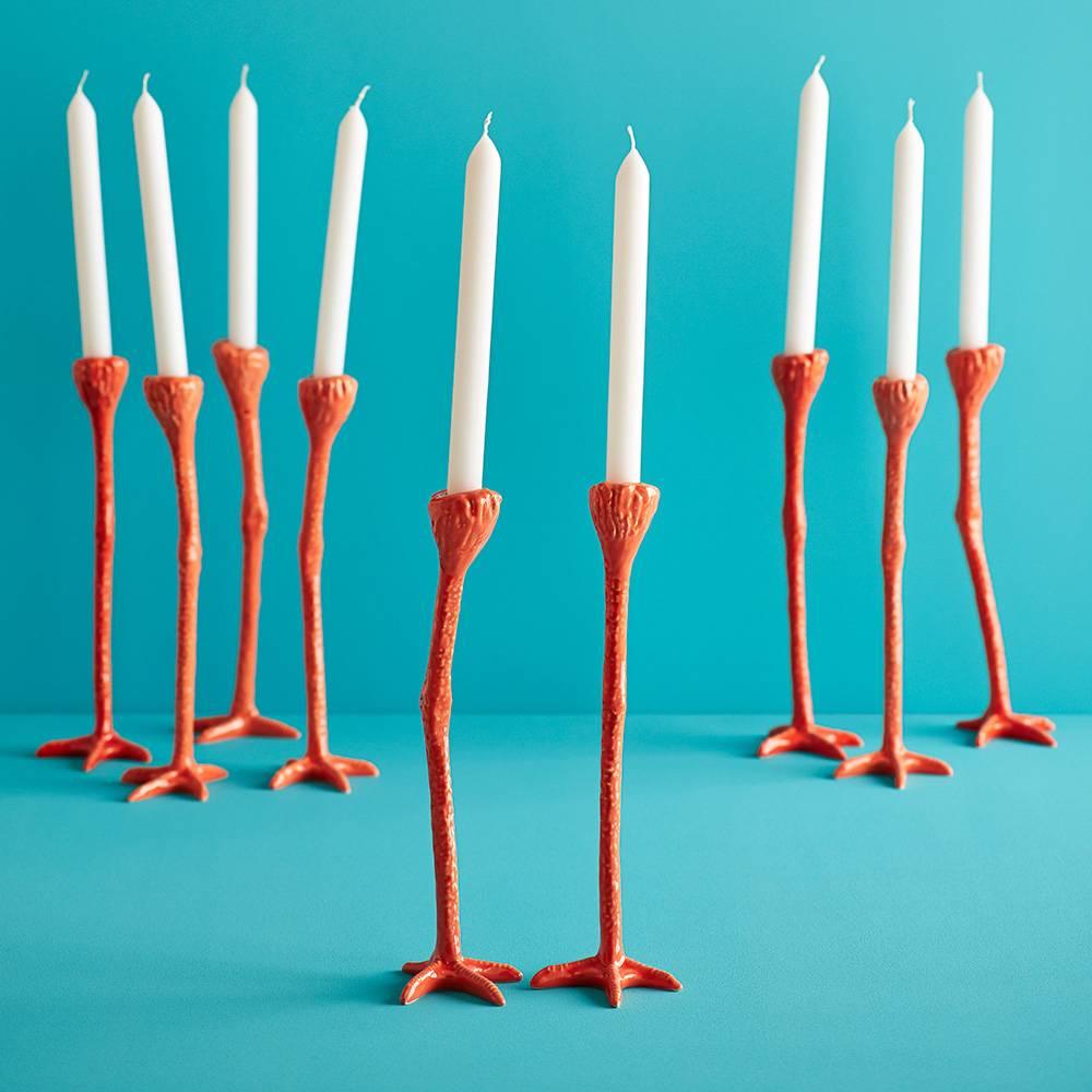 """Set van 2 oranje vogelpoot kandelaars """"Long Legs"""""""