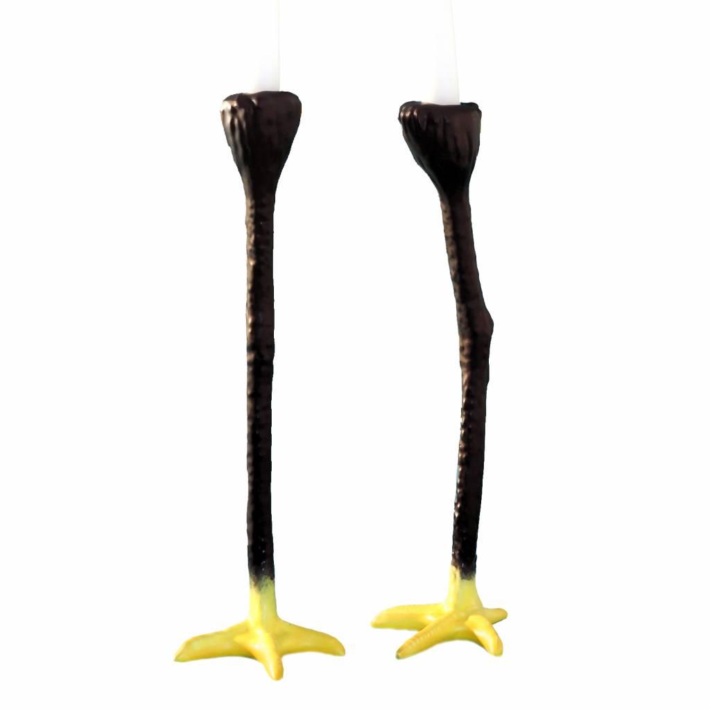 """Set of 2 black bird legs candlesticks """"Long Legs"""""""