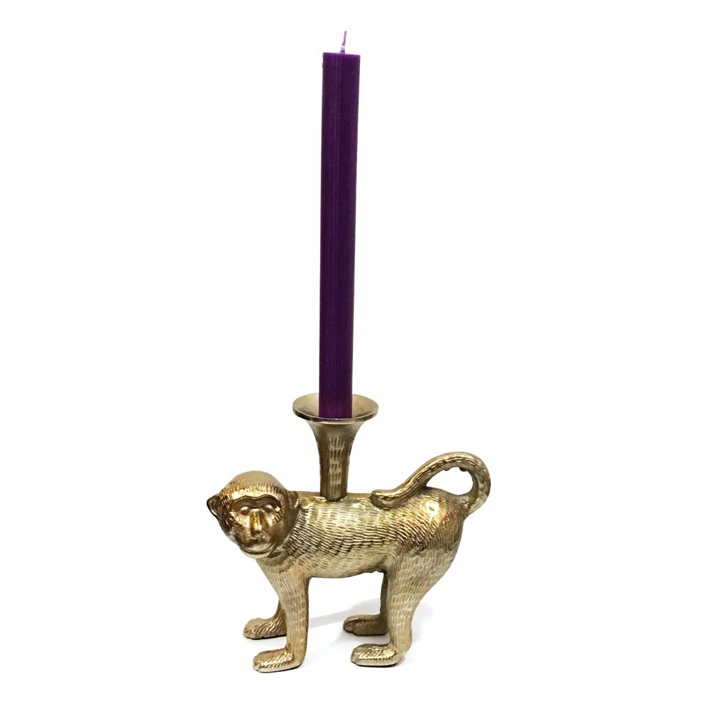 Brass monkey candlestick with gold look