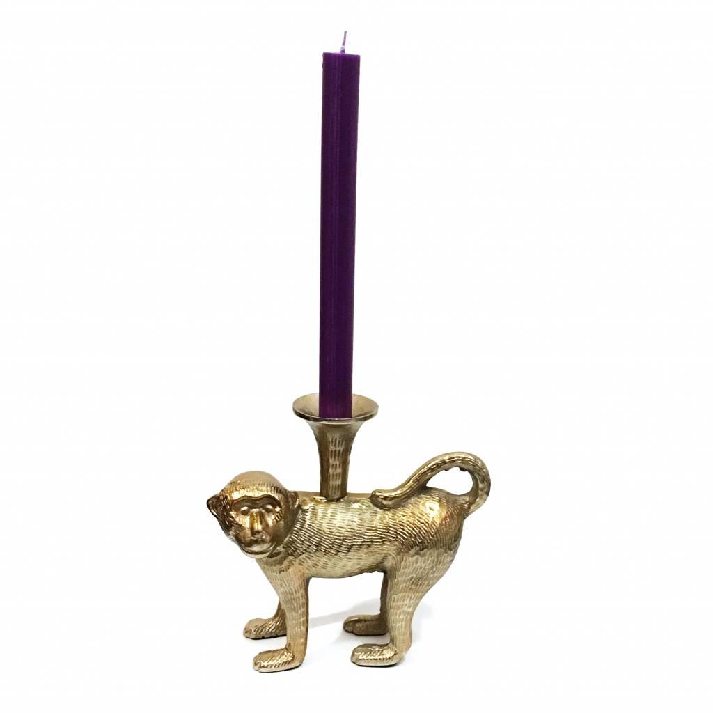 Goud look messing kandelaar in de vorm van een aap.