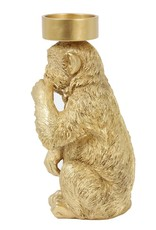 Gouden kaarsenhouder voor stompkaars in de vorm van een aap