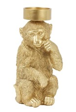 Shiny gold monkey candle holder for pillar candles