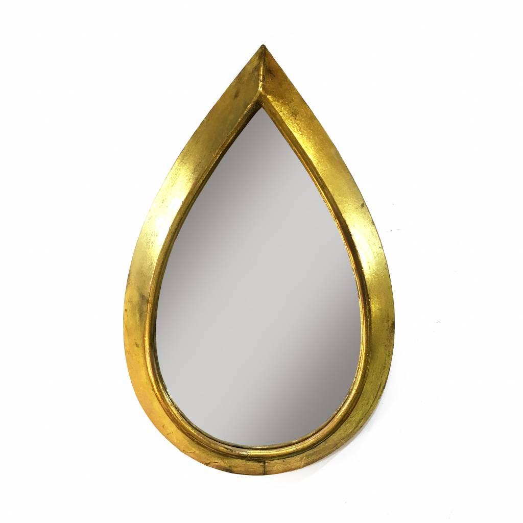 Gold drop shaped mirror