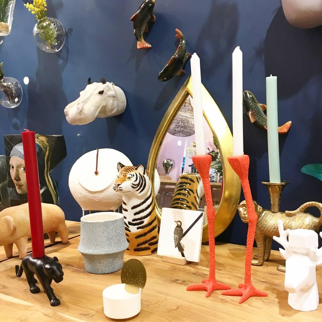 "Set of 2 orange bird legs candlesticks ""Long Legs"""