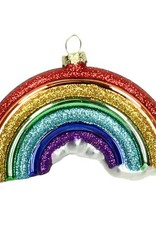 Quirky glass rainbow christmas tree ornament