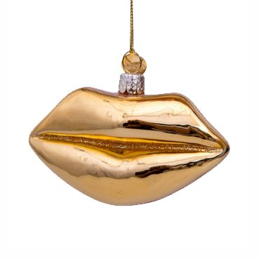 Aparte kersthanger van glas in de vorm van lippen in goud