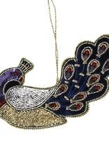 Velvet peacock Christmas ornament