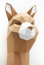 Papieren alpaca dierenhoofd om te knutselen