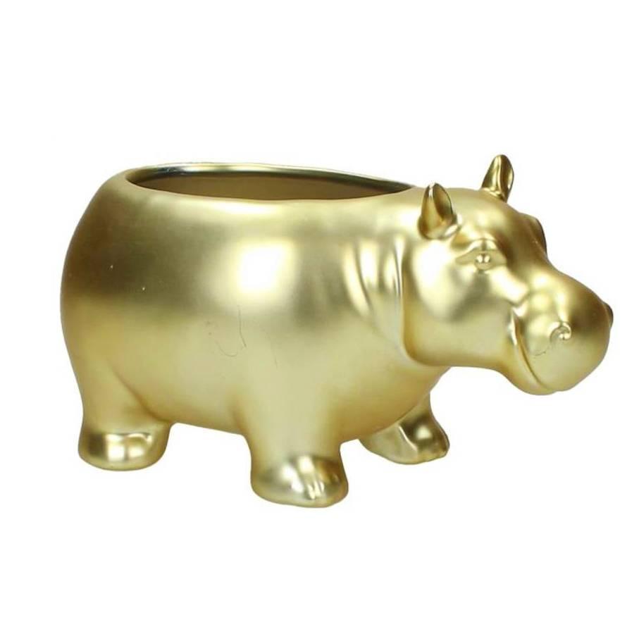 Nijlpaard plantenpot van goud keramiek