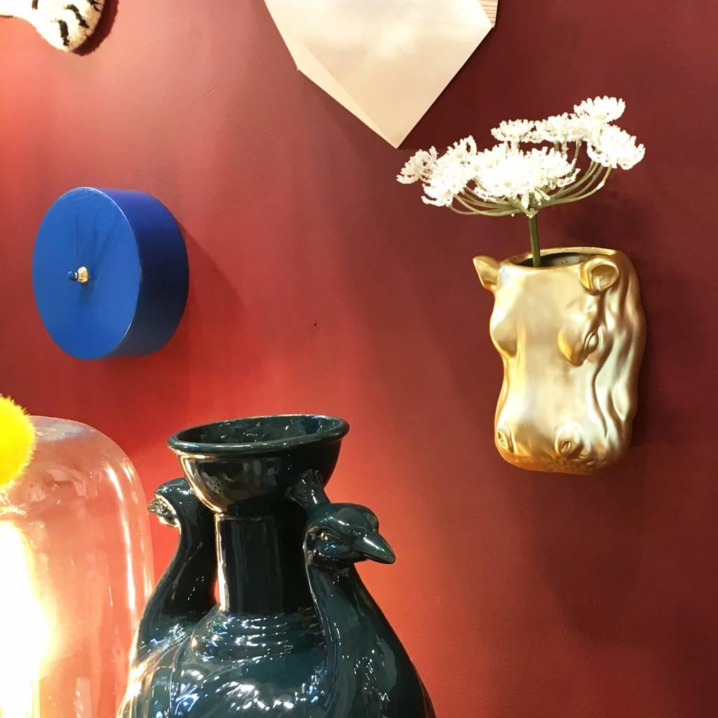 Gold ceramic hippo wall vase