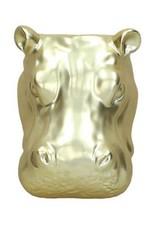 Nijlpaard wandvaas van goud keramiek