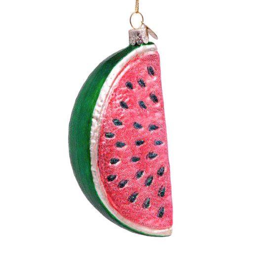 Aparte kersthanger van glas in de vorm van een meloen