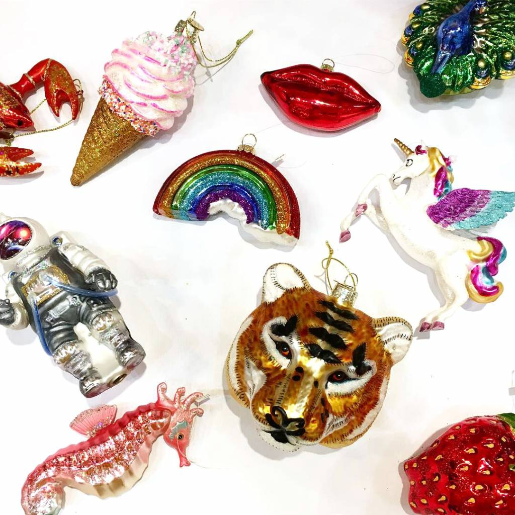 Quirky glass strawberry christmas tree ornament