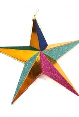 Mulit colored star christmas tree ornament