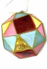 Colored glass diamond christmas tree ornament